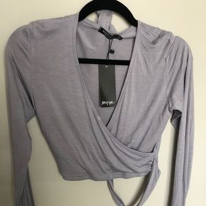 Gray Wrap Top - Nasty Gal